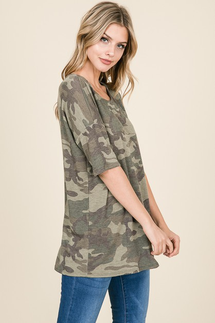 CAMO PRINT HALF SLEEVE TUNIC TOP - orangeshine.com