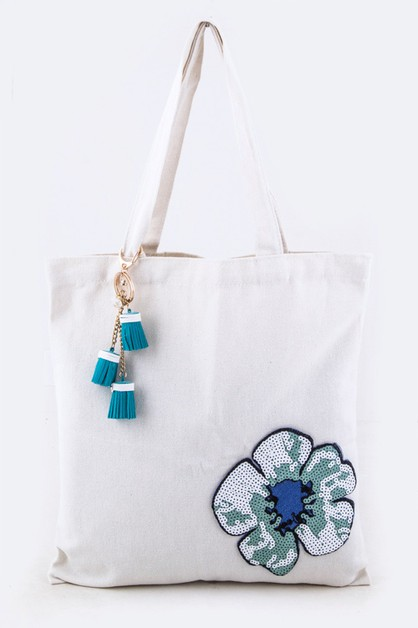 Sequins Flower Fashion Tote - orangeshine.com