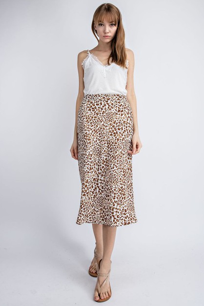 Animal Printed Midi Skirt - orangeshine.com