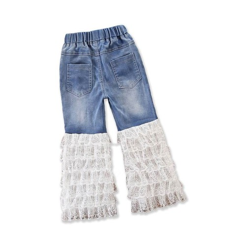 Girls Jeans with Lace Ruffles - orangeshine.com