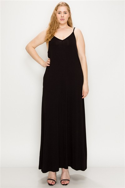 Plus Size Solid Hue Tank Maxi Dress - orangeshine.com