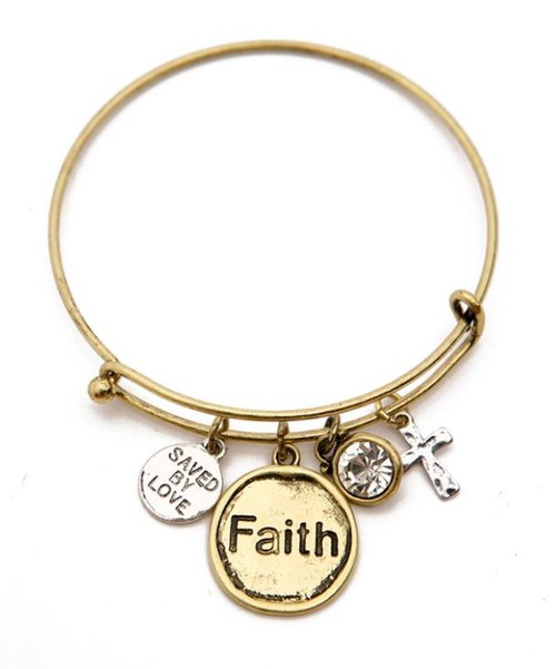 FAITH CHARM BANGLE BRACELET - orangeshine.com