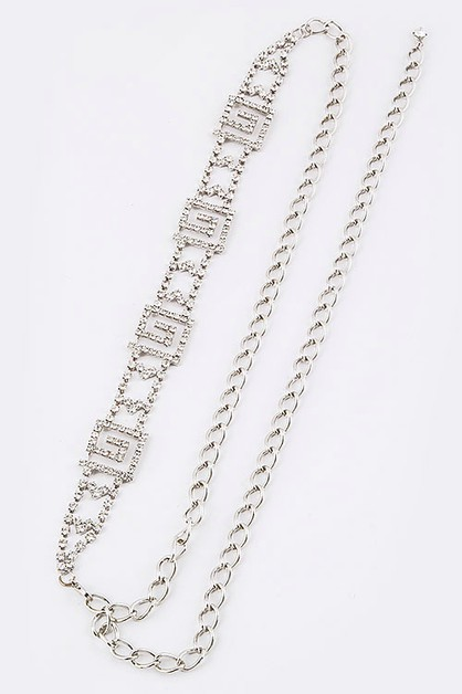 Rhinestone Pattern Statement Chain  - orangeshine.com