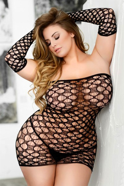 Off Shoulder Fishnet Bodystocking - orangeshine.com