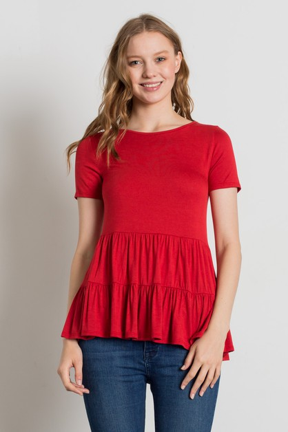Knit Solid Gathered Ruffle Top - orangeshine.com