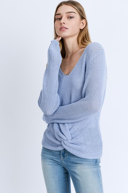 Twisted Knot V Neck Sweater - orangeshine.com