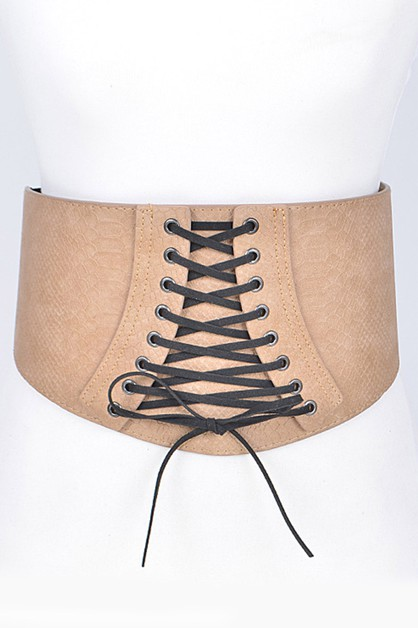 Textured Leather Laced Corset Belt - orangeshine.com