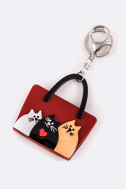 Iconic Cat Purse Resin Key Chain - orangeshine.com