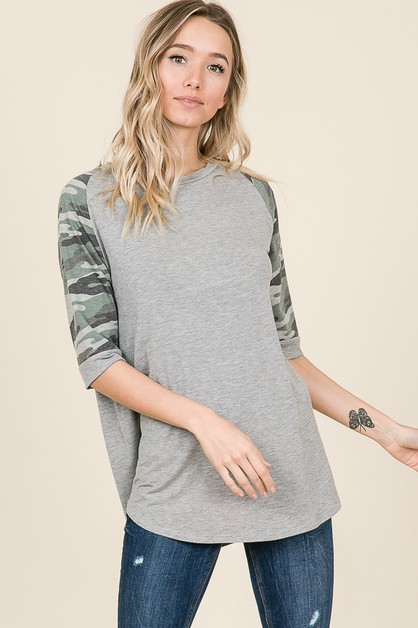 CASUAL CAMO SLEEVE RAGLAN TOP - orangeshine.com