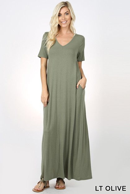 V-NECK MAXI DRESS WITH SIDE POCKETS - orangeshine.com