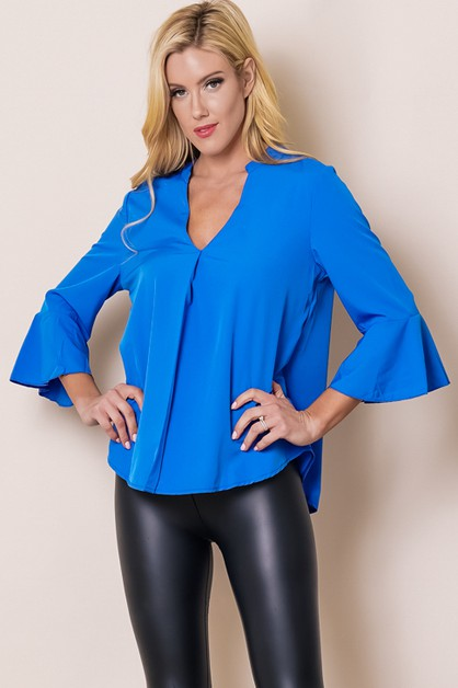 TOP DEEP V NECK BELL SLEEVE RELAXED  - orangeshine.com