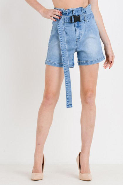 Paper Bag Shorts with Self Belt - orangeshine.com