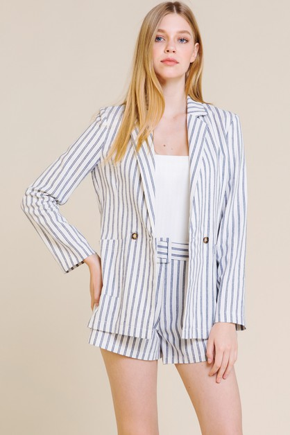 STRIPE BLAZER WITH POCKETS           - orangeshine.com
