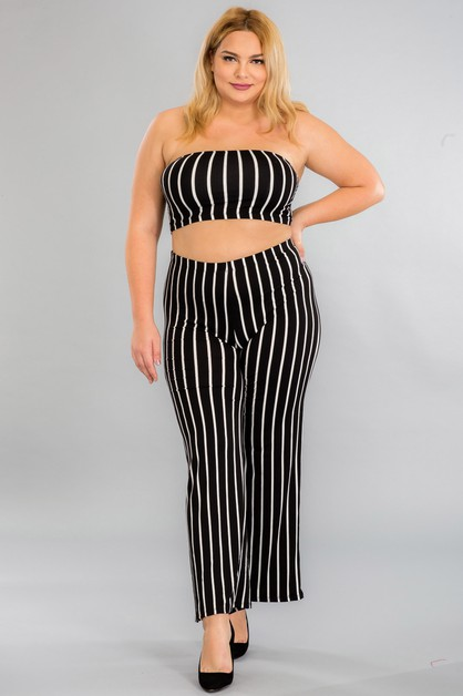Plus Size Cropped Tube Top And Pants - orangeshine.com