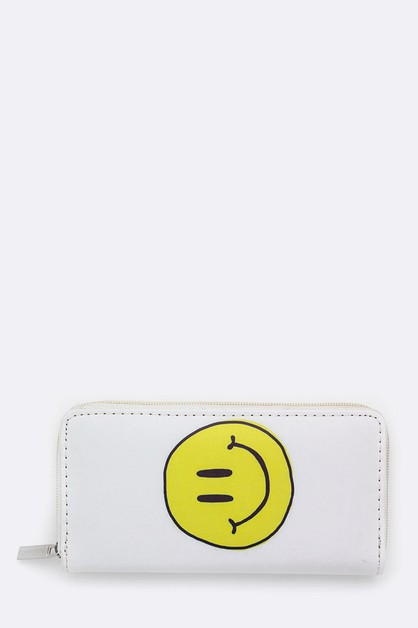 Smiley Face Printed Wallet - orangeshine.com