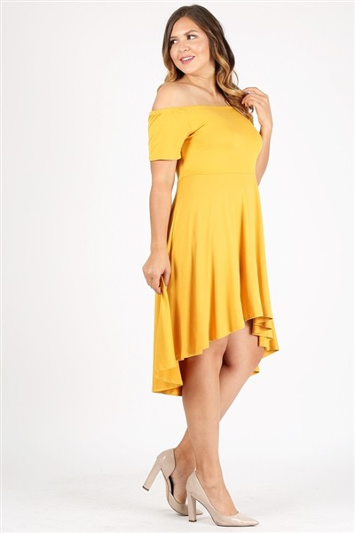 Plus size High-Low off the shoulder  - orangeshine.com