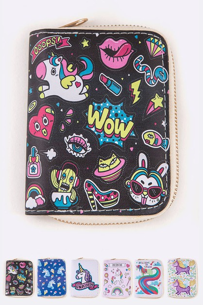 Unicorn Comic Print Small Zip Wallet - orangeshine.com