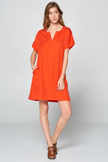 MODERN PLEATED NECK DRESS - orangeshine.com