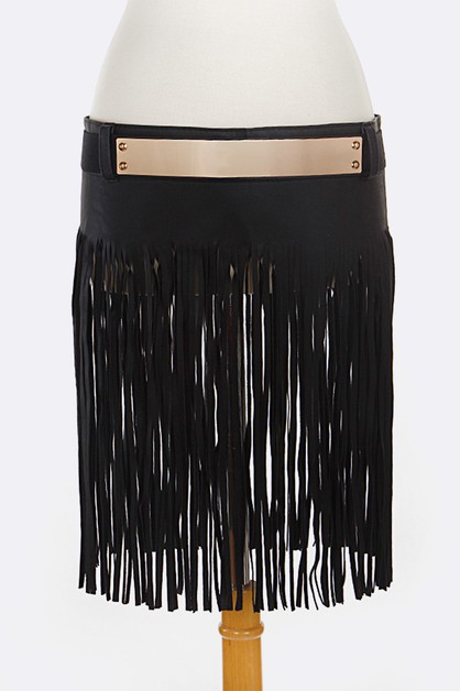 Iconic Fringe Leather Gold Plat Belt - orangeshine.com