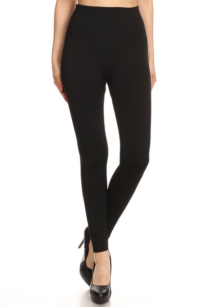 High Waist Thick Fleece Leggings  - orangeshine.com