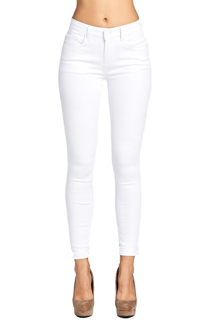 Skinny Jeans Solid White Denim - orangeshine.com