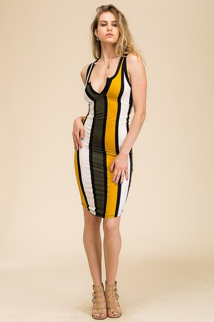 Striped Split Neck Dress - orangeshine.com
