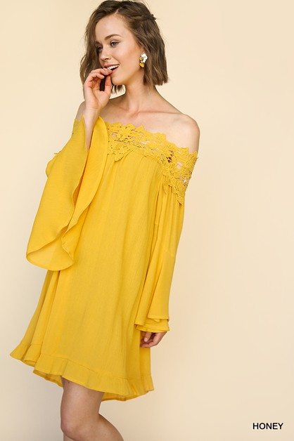 Off Shoulder Bell Sleeve Dress - orangeshine.com