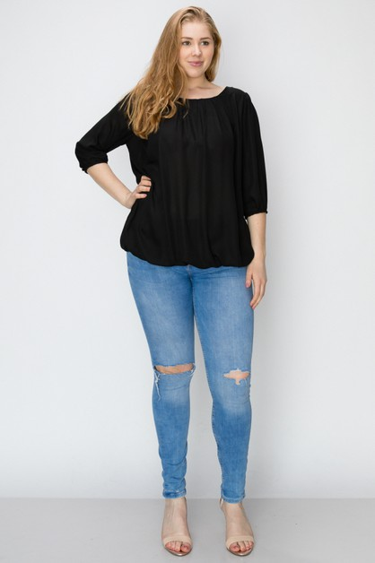 Plus Size Ruffle Round Neck TOP - orangeshine.com