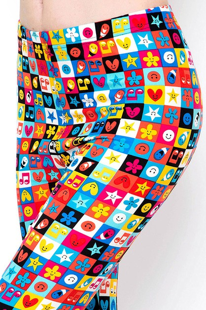 EMOJI PRINT BRUSHED FULL LEGGINGS - orangeshine.com
