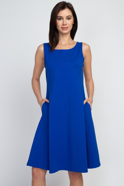 Sleeveless A-Line Dress with Pockets - orangeshine.com