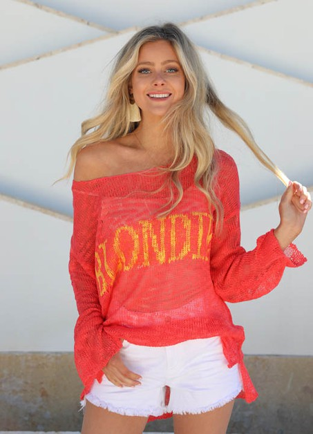 CORAL BLONDIE SWEATER - orangeshine.com