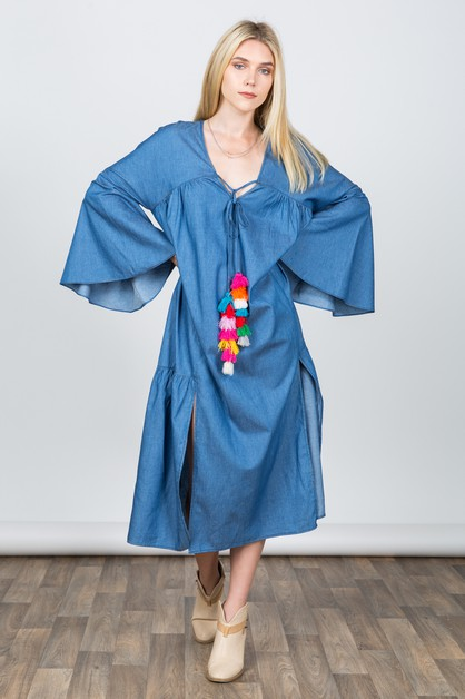 DENIM LONG DRESS WITH COLOR POM POM - orangeshine.com