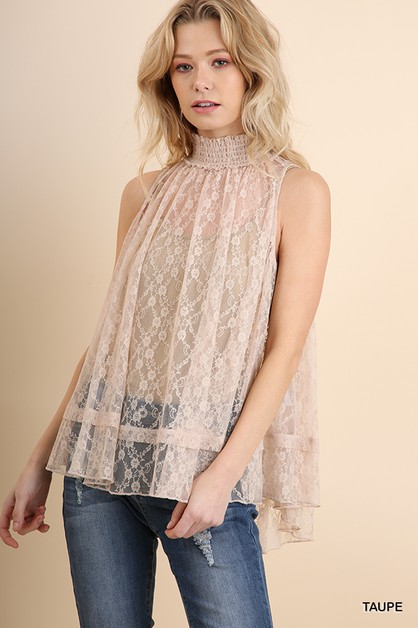 Sleeveless Sheer Lace Top - orangeshine.com