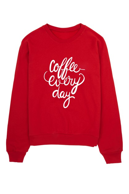 COFFEE EVERYDAY CREW NECK SWEATER - orangeshine.com