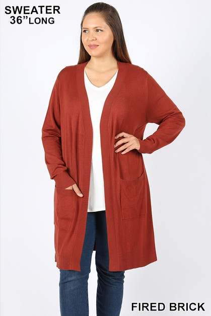 PLUS OPEN CARDIGAN SWEATER POCKETS - orangeshine.com