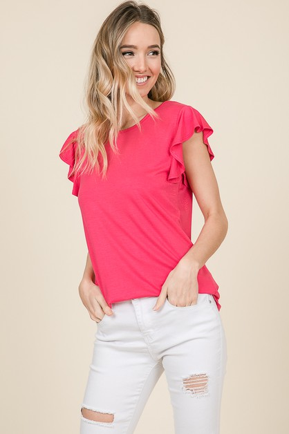 CASUAL SHORT SLEEVE RUFFLE TOP - orangeshine.com