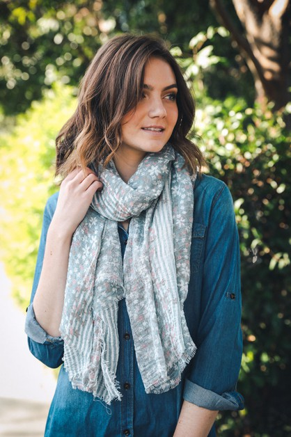 Soft Stripe and Bloom Scarf - orangeshine.com