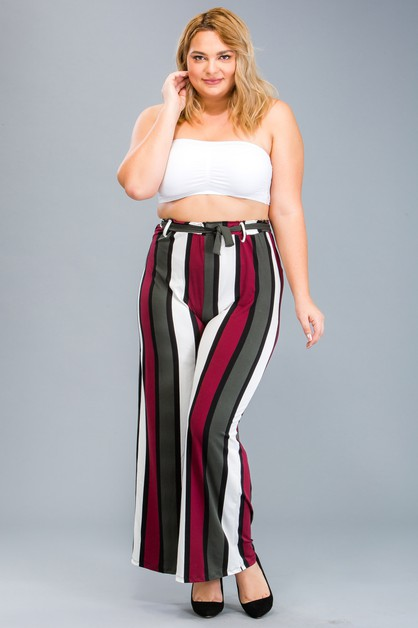 Plus Size Striped Wide-Leg Pants - orangeshine.com