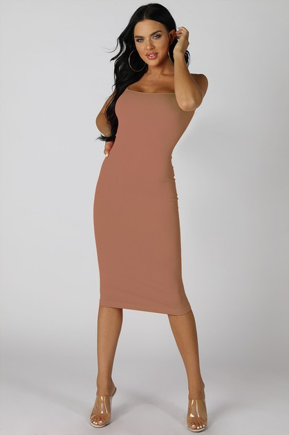 Ribbed Midi Dress - orangeshine.com