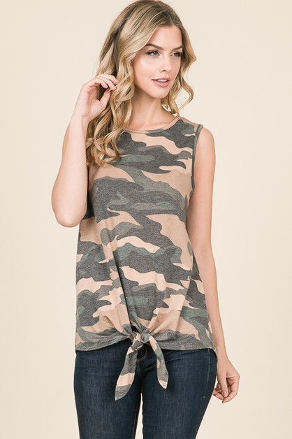 CAMO  PRINT SELF TIE KNOT TOP - orangeshine.com