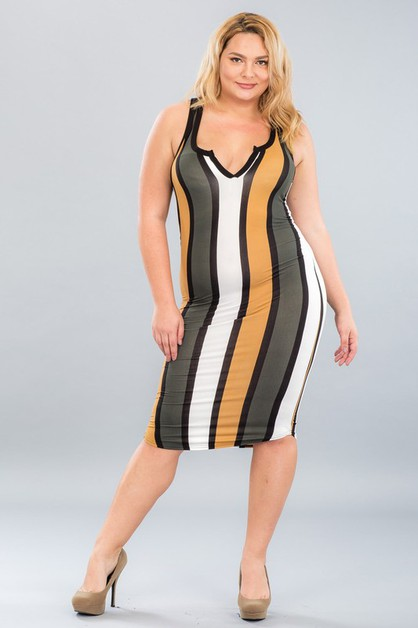 Plus Size Striped Split Neck Dress - orangeshine.com
