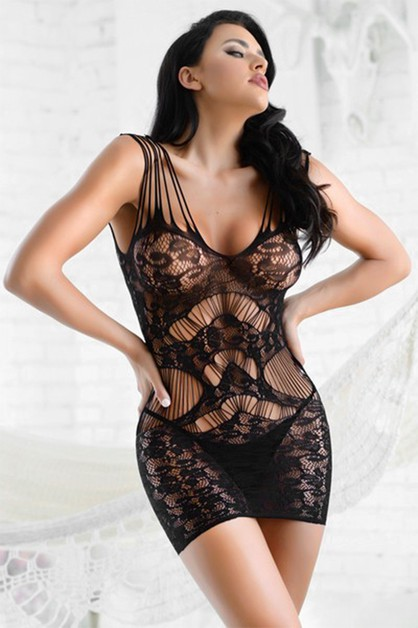Lace Fishnet Bodystocking Dress - orangeshine.com