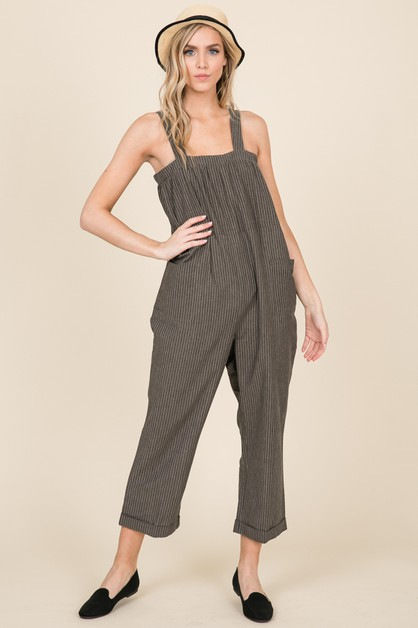 STRIPE LINEN COTTON OVERALL JUMPSUIT - orangeshine.com