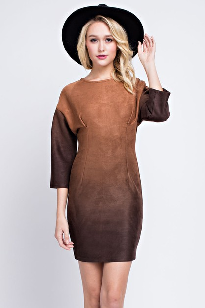 SUEDE GRADIENT DRESS - orangeshine.com