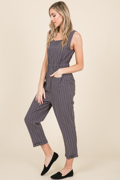STRIPE COTTON LINEN CAPRI JUMPSUIT - orangeshine.com