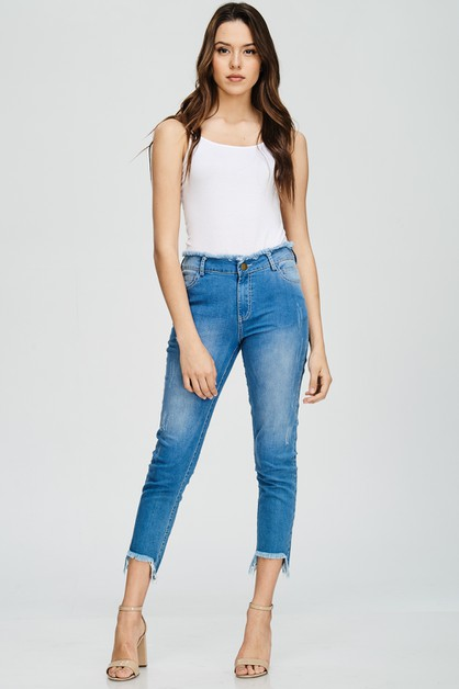 LIGHT WASH DISTRESSED SKINNY JEANS - orangeshine.com