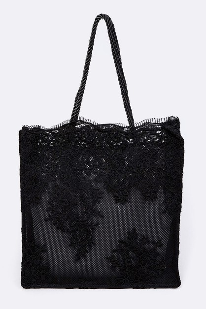Lace Fabrice Cleared Structure Tote - orangeshine.com