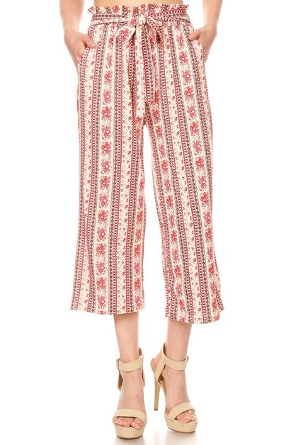 FLoral Paisley Cropped Palazzo Pants - orangeshine.com