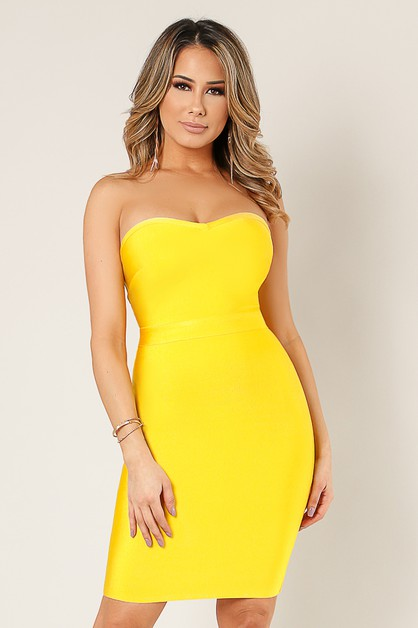Back Lace Up Strapless Dress - orangeshine.com