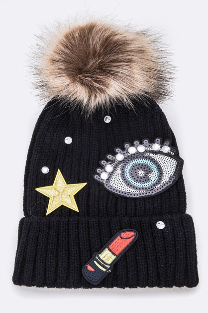 Mix Patch Iconic Fur Pom Beanie - orangeshine.com